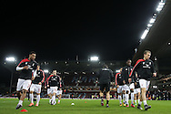 Liverpool players during pre match warm ups. The Emirates FA cup, 4th round replay match, West Ham Utd v Liverpool at the Boleyn Ground, Upton Park  in London on Tuesday 9th February 2016.<br /> pic by John Patrick Fletcher, Andrew Orchard sports photography.