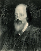 Alfred, Lord Tennyson (1809-1892) English poet. Poet Laureate 1850. Lithograph after the portrait by George Frederick Watts (1817-1904).