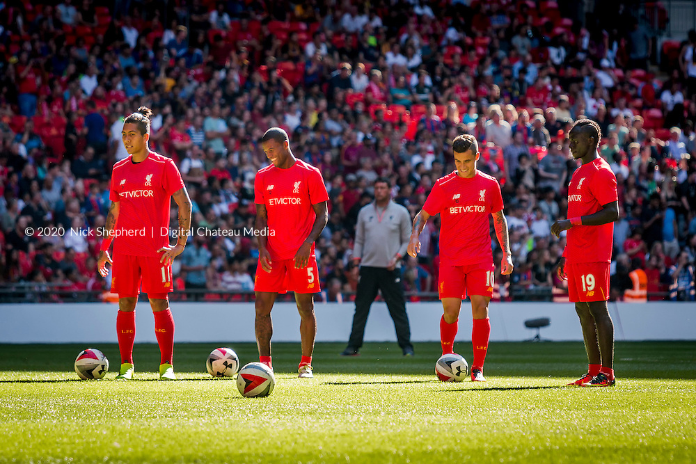 Players warming up - International Champions Cup 2016 - Liverpool  FC v FC Barcelona, Wembley Stadium, August 06 2016.<br /> EDITORIAL USE ONLY