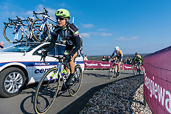 Leah Kirchmann gets out of the saddle for the final few metres of the Vamberg - Ronde van Drenthe 2016, a 138km road race starting and finishing in Hoogeveen, on March 12, 2016 in Drenthe, Netherlands.