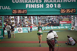10062018 (Durban) A position 3rd Steve Way run towards the finnish line during the 2018 Comrades marathon in Durban.Picture: Motshwari Mofokeng/ANA