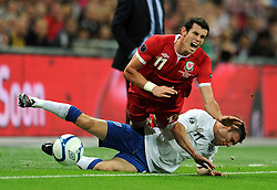 06.09.2011, Wembley Stadium, London, GBR, UEFA EURO 2012, Qualifikation, England vs Wales, im Bild Wales' Gareth Bale and England's James Millner during the UEFA Euro 2012 Qualifying Group G match at Wembley Stadium on 6/9/2011. EXPA Pictures © 2011, PhotoCredit: EXPA/ Propaganda Photo/ Chris Brunskill +++++ ATTENTION - OUT OF ENGLAND/GBR+++++