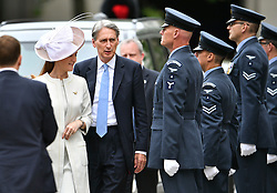 © Licensed to London News Pictures. 10/06/2016. London, UK. Foreign Secretary Philip Hammond and his wife Susan Williams-Walker arrive at St Paul's Cathedral for a service of thanksgiving to mark the 90th birthday of Queen Elizabeth II. Photo credit: Ben Cawthra/LNP