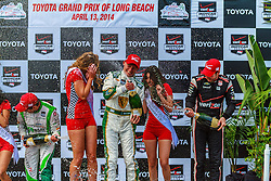 LONG BEACH, CA - APRIL 13  Mike Conway won the Toyota Grand Prix of Long Beach on Sunday after several of the leaders were knocked out in a multi-car crash and Scott Dixon lost the lead when he ran short of fuel. Conway, a British driver for the Ed Carpenter Racing team, first won the race on Long Beach's seaside streets in 2011. 2014 April 13.  Byline, credit, TV usage, web usage or linkback must read SILVEXPHOTO.COM. Failure to byline correctly will incur double the agreed fee. Tel: +1 714 504 6870.