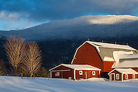 Cold, snowy winter farm scene in Waterbury Center, Vermont