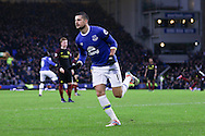 Kevin Mirallas of Everton celebrates after scoring his teams 2nd goal. Premier league match, Everton v Manchester City at Goodison Park in Liverpool, Merseyside on Sunday 15th January 2017.<br /> pic by Chris Stading, Andrew Orchard sports photography.