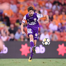 BRISBANE, AUSTRALIA - DECEMBER 21: Andreu Guerao of the Glory kicks the ball during the Round 12 Hyundai A-League match between Brisbane Roar and Perth Glory on December 21, 2017 in Brisbane, Australia. (Photo by Patrick Kearney / Brisbane Roar FC)