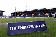 The Emirates FA Cup branding during the The FA Cup 4th round match between Notts County and Swansea City at Meadow Lane, Nottingham, England on 27 January 2018. Photo by Jon Hobley.
