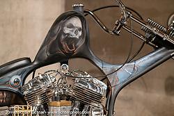 Aki Sakamoto's Hogkillers custom 1940 Harley-Davidson ULH Flathead in a heavily modified frame at the Handbuilt Show. Austin, TX. USA. Saturday April 21, 2018. Photography ©2018 Michael Lichter.