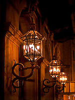 Original gas lamps provide lighting on the exterior of the Academy of Music in Philadelphia, Pennsylvania.