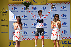 July 11, 2018 - Quimper, FRANCE - Latvian Toms Skujins of Trek-Segafredo celebrates on the podium in the red polka-dot jersey for best climber after the fifth stage of the 105th edition of the Tour de France cycling race, from Lorient to Quimper (204,5 km), in France, Wednesday 11 July 2018. This year's Tour de France takes place from July 7th to July 29th. BELGA PHOTO DAVID STOCKMAN - FRANCE OUT (Credit Image: © David Stockman/Belga via ZUMA Press)