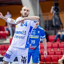 Marcel Schiller (FRISCH AUF! Goeppingen #24) ; 7-Meter-Wurf / LIQUI MOLY HBL 20/21  1. Handball-Bundesliga: TVB Stuttgart - FRISCH AUF! Goeppingen am 24.04.2021 in Stuttgart (SCHARRena), Baden-Wuerttemberg, Deutschland beim Spiel in der Handball Bundesliga, TVB 1898 Stuttgart - FRISCH AUF! Goeppingen.<br /> <br /> Foto © PIX-Sportfotos *** Foto ist honorarpflichtig! *** Auf Anfrage in hoeherer Qualitaet/Aufloesung. Belegexemplar erbeten. Veroeffentlichung ausschliesslich fuer journalistisch-publizistische Zwecke. For editorial use only.