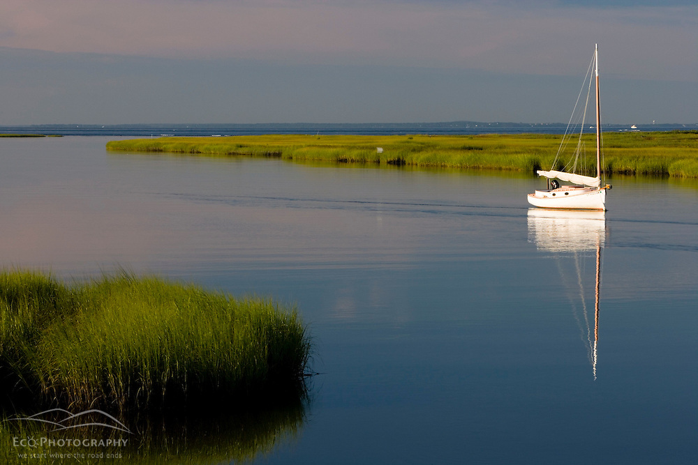 Sailboat at anchor between Great Island and the shoreline in Old Lyme in the Connecticut River.  Near mouth of the river in Old Lyme, Connecticut.  Salt Marsh.