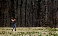 Oakville's Jimmy Drennan tees off on the 18th hole during the SLUH Bantle Memorial Golf Tournament on Thursday, March 28, 2019, at Missouri Bluffs Golf Club in St. Charles County, Mo.  Gordon Radford   Special to STLhighschoolsports.com