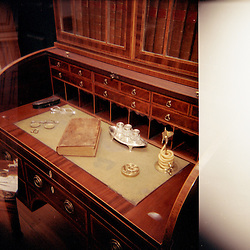 Alexandria, VA- President George Washington's study, with desk, campaign chest, telescope, and other important objects at Mount Vernon, his home in Alexandria, VA.