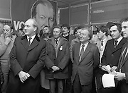 Opening of New Ogra Fianna Fail office on O'Connell St,Dublin.1982.30.01.1982.01.30.1982.30th January 1982..Picture Of Mr George Colley T.D, Mr Tom Leonard,prospective candidate,Mr Charles Haughey,Leader of Fianna Fail and Mr Bertie Ahearn as they listen to speakers...
