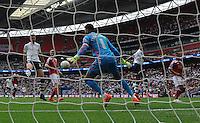 GOAL - Preston North End's Paul Huntington scores his sides second goal <br /> <br /> Photographer Ian Cook/CameraSport<br /> <br /> Football - The Football League Sky Bet League One Play-Off Final - Preston North End v Swindon Town - Sunday 24th May 2015 - Wembley Stradium - London<br /> <br /> © CameraSport - 43 Linden Ave. Countesthorpe. Leicester. England. LE8 5PG - Tel: +44 (0) 116 277 4147 - admin@camerasport.com - www.camerasport.com