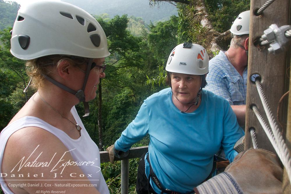 Carol braving her way through the sip line ride. Costa Rica.