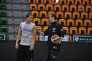 Sassari 15 Agosto 2012 - qualificazioni Eurobasket 2013 - allenamento<br /> Nella Foto : DANIELE CAVALIERO SIMONE PIANIGIANI<br /> Foto Ciamillo