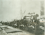 The cargo ship 'Nympha' loaded with food for the population of the Volga, in the port of Burgas.