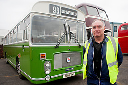 Olive Grove Bus bus depot open day on Saturday, Bus owner Bryan Sharpe with his 1974 Bristol RE which ran beyween Sheffield Chesterfield and Mansfield..12 May 2013.Image © Paul David Drabble