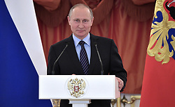 May 31, 2017 - Moscow, Russia - May 31, 2017. - Russia, Moscow. - Russian President Vladimir Putin attends the ceremony to present the Order of Parental Glory to parents of multiple children. (Credit Image: © Russian Look via ZUMA Wire)