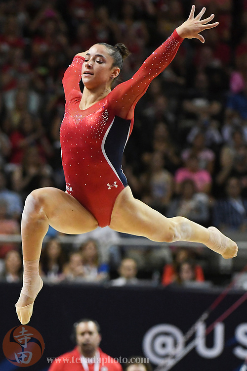 July 8, 2016; San Jose, CA, USA; Aly Raisman, Needham, MA, during the floor exercise in the women's gymnastics U.S. Olympic team trials at SAP Center.