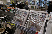 As Londoners await the imminent second coronavirus lockdown the headline in the Daily Mail newspaper reads 'A Nightmare Without End' before a month-long total lockdown in the UK on 2nd November 2020 in London, United Kingdom. The three tier system in the UK has not worked sufficiently, to suppress the virus, and there have have been calls by politicians for a 'circuit breaker' complete lockdown to be announced to help the growing spread of the Covid-19.