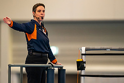 First referee Helene Geldof in action in the second round between Sliedrecht Sport and Draisma Dynamo on February 29, 2020 in sports hall de Basis, Sliedrecht