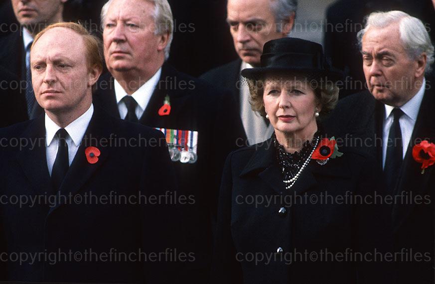 Prime Minister Margaret Thatcher with ex-Prime Minister's Harold Wilson and Ted Heath and Labour party leader Neil Kinnock at the Cenotaph Remembrance Ceremony in London in November. Photograph by Jayne Fincher 1989