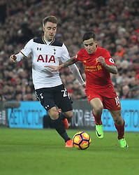 Christian Eriksen of Tottenham Hotspur (L) and Philippe Coutinho of Liverpool in action - Mandatory by-line: Jack Phillips/JMP - 11/02/2017 - FOOTBALL - Anfield - Liverpool, England - Liverpool v Tottenham Hotspur - Premier League