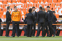 Real Madrid´s Morata, Marcelo, Coentrao and Cristiano Ronaldo (R) before the Spanish Copa del Rey `King´s Cup´ final soccer match between Real Madrid and F.C. Barcelona at Mestalla stadium, in Valencia, Spain. April 16, 2014. (ALTERPHOTOS/Victor Blanco)