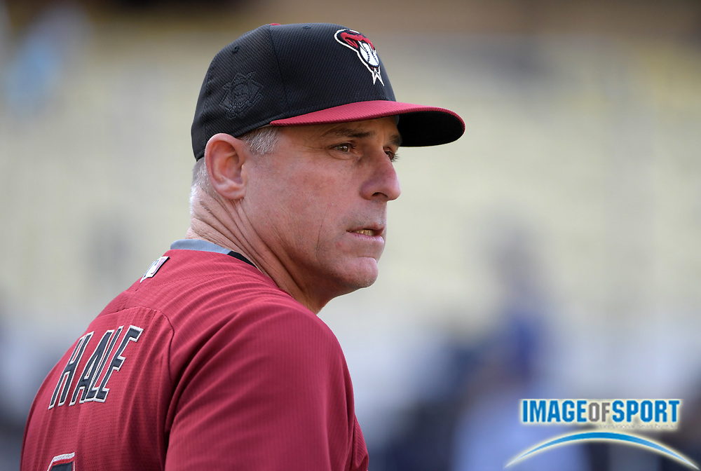 Sep 6, 2016; Los Angeles, CA, USA; Arizona Diamondbacks manager Chip Hale (3) reacts during a MLB game against the Los Angeles Dodgers at Dodger Stadium.