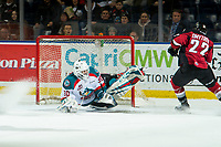 KELOWNA, CANADA - JANUARY 26: Roman Basran #30 of the Kelowna Rockets makes a first period save on a shot by Jared Dmytriw #22 of the Vancouver Giants  on January 26, 2019 at Prospera Place in Kelowna, British Columbia, Canada.  (Photo by Marissa Baecker/Shoot the Breeze)