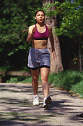 Woman out on a fitness walk.