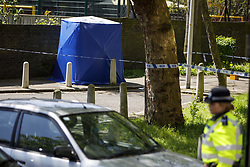 May 6, 2018 - London, London, UK - London, UK. Police officers investigate at the scene where a 17-year-old boy has died after being shot on Cooks Road in Kennington, south London. (Credit Image: © Tolga Akmen/London News Pictures via ZUMA Wire)