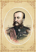 'Grand Duke Nicholas Nikolaevich of Russia (1831-1891)  Russian general, brother of Tsar Alexander II. Colour-printed wood engraving c1890.'