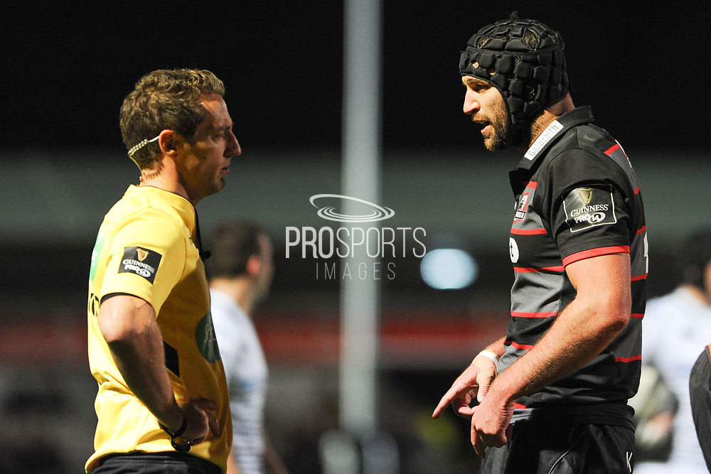 Captain Fraser McKenzie in discussion with the referee during the Guinness Pro 14 2017_18 match between Edinburgh Rugby and Ospreys at Myreside Stadium, Edinburgh, Scotland on 4 November 2017. Photo by Kevin Murray.