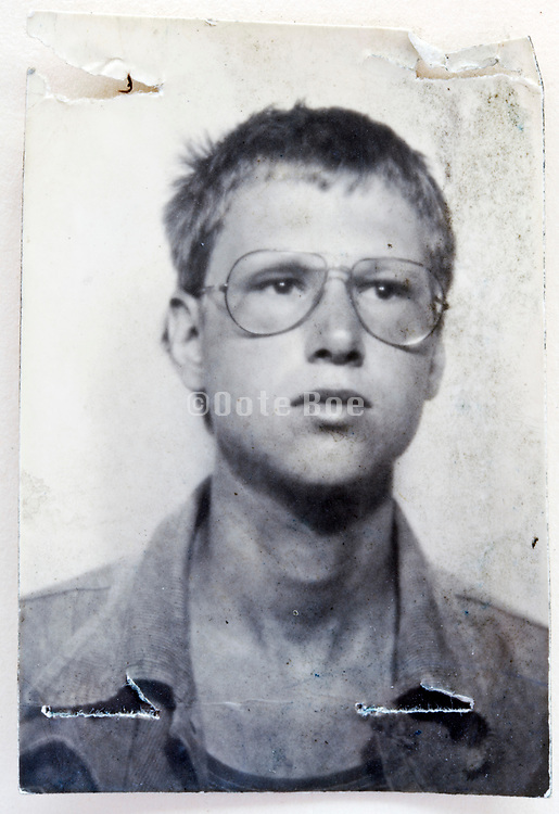 damaged head and shoulder portrait of young adult man