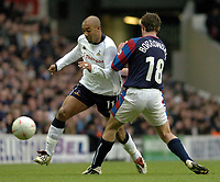 Picture: Henry Browne.<br /> Date: 03/01/2004.<br /> Tottenham Hotspur v Crystal Palace FA Cup 3rd Round.<br /> Stephane Dalmatof Spurs gets past Palaces Gary Borrowdale.