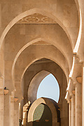 Architectural detail with arches inside Hassan II Mosque in Casablanca, Morocco