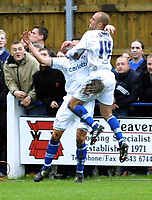 Photo: Dave Linney.<br />Chasetown v Oldham Athletic. The FA Cup. 06/11/2005.<br />Paul Warne celebrates with goalscorer David Eyres.