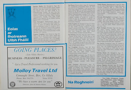 All Ireland Senior Hurling Championship - Final, Galway VS Offaly,<br /> 06.09.1981<br /> 09.06.1981<br /> 6th September 1981<br /> Offaly 2-12<br /> Galway 0-15<br /> 06091981AISHCF<br /> Molloy Travel Ltd