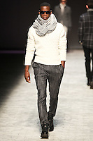 Model walks down runway for F2012 Joseph Abboud collection in Mercedes Benz fashion week in New York on Feb 9, 2012 NYC