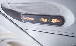THEMENBILD - nichtraucherzeichen und angurtezeichen, aufgenommen am 17. August 2018 in Larnaka, Zypern // non-smoking sign and Fasten Seat Belt Sign, Larnaca, Zyprus on 2018/08/17. EXPA Pictures © 2018, PhotoCredit: EXPA/ JFK
