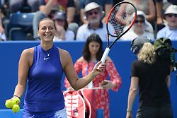 June 20, 2017 - Birmingham, England - PETRA KVITOVA of the Czech Republic hits some tennis balls into the crowd after winning her first round match v. T. Smitkova at the Aegon Classic Birmingham tennis tournament. (Credit Image: © Christopher Levy via ZUMA Wire)