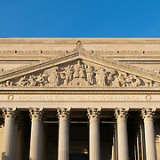 The National Archives Building in Washington DC. Opened in 1935, it sits between Constitution Avenue and Pennsylvania Avenue in Northwest Washington DC. This is the Constitution Avenue facade.