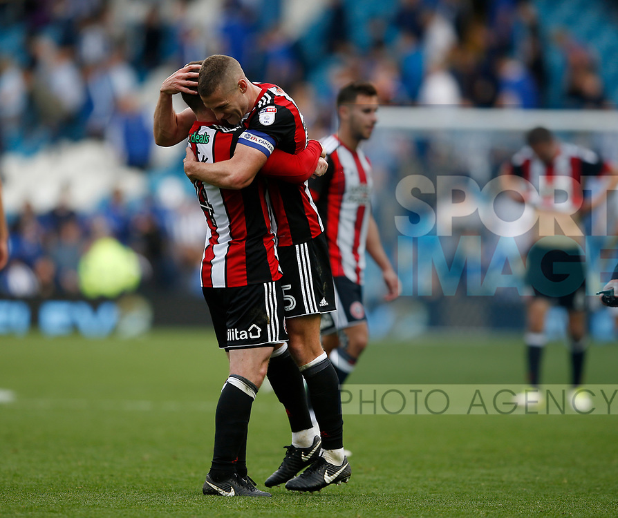 John Fleck and Paul Coutts of Sheffield Utd celebrate the win during the Championship match at the Hillsborough Stadium, Sheffield. Picture date 24th September 2017. Picture credit should read: Simon Bellis/Sportimage