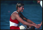 Banyoles, SPAIN, BRONZE Medalist,  CAN W1X SILKEN LAUMANN,  awards dock, shakes hands with the boat holder. 1992 Olympic Regatta, Lake Banyoles, Barcelona, SPAIN.    [Mandatory Credit: Peter Spurrier: Intersport Images]