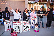 07 FEBRUARY 2011 - PHOENIX, AZ: Immigrant parents march at the Arizona Capitol in support of birthright citizenship Monday, February 7. The Arizona State Legislature, led by the State Senate is debating the 14th Amendment, which would bar US citizenship for the children of undocumented immigrants born in the United States. The bill has broad support among Republicans, who are the majority party, in the state legislature but not among Democrats. The law is also very unpopular in the state's Latino and immigrant communities.       Photo by Jack Kurtz